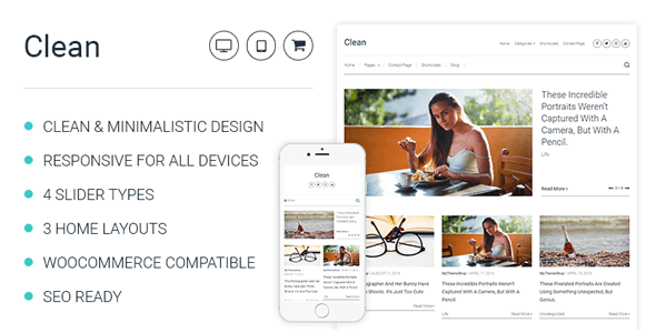 Clean – Minimalistic Wordpress Theme For Professional Bloggers