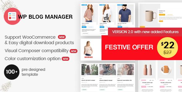 WP Blog Manager - Plugin to Manage / Design WordPress Blog